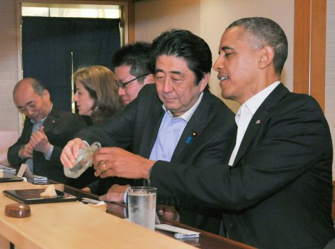 Obama enjoying the alleged best sushi in the world alongside Japanese prime minister Shinzo Abe. Photo courtesy of Time Magazine.